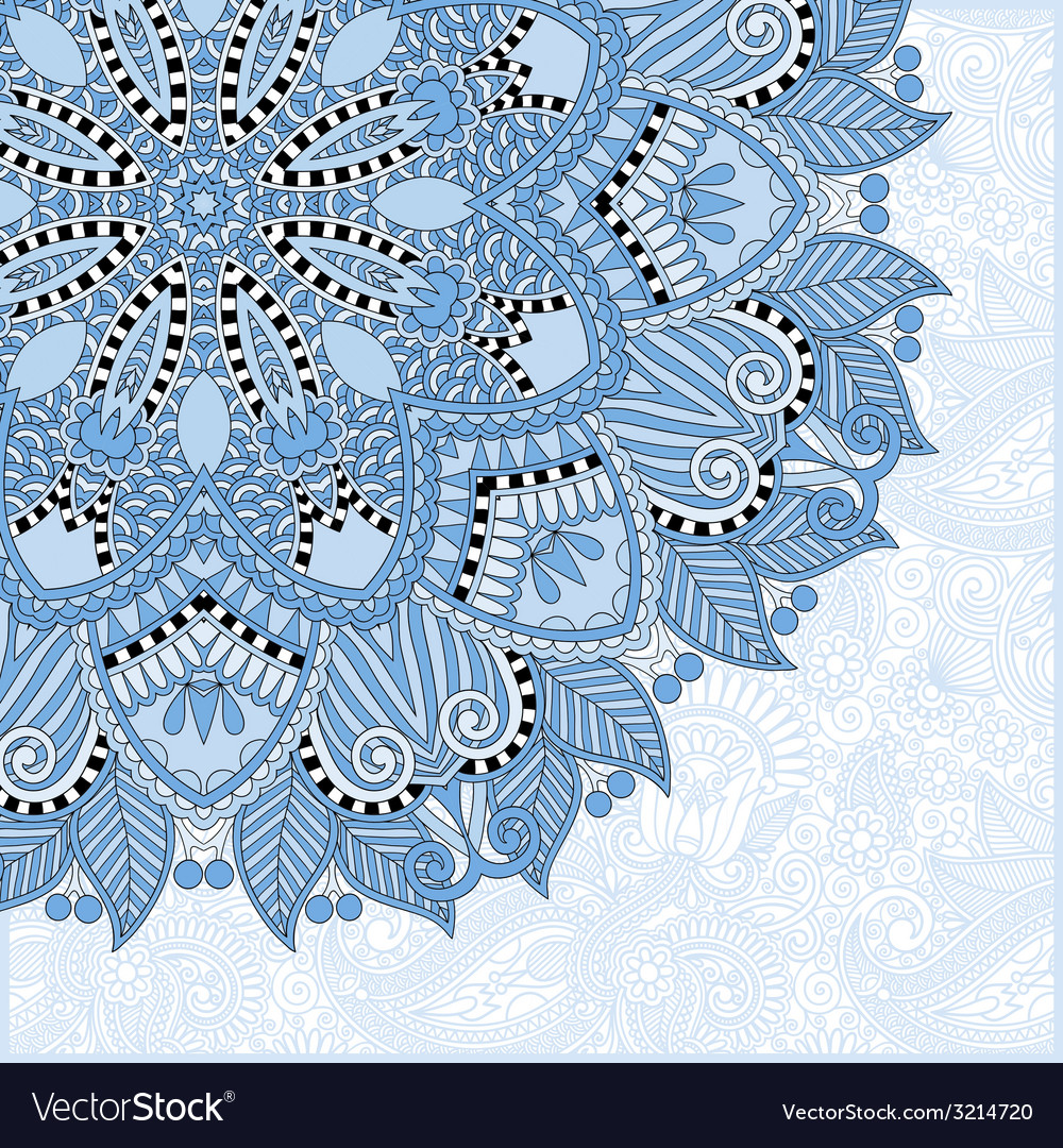 Blue colour floral round pattern vector | Price: 1 Credit (USD $1)