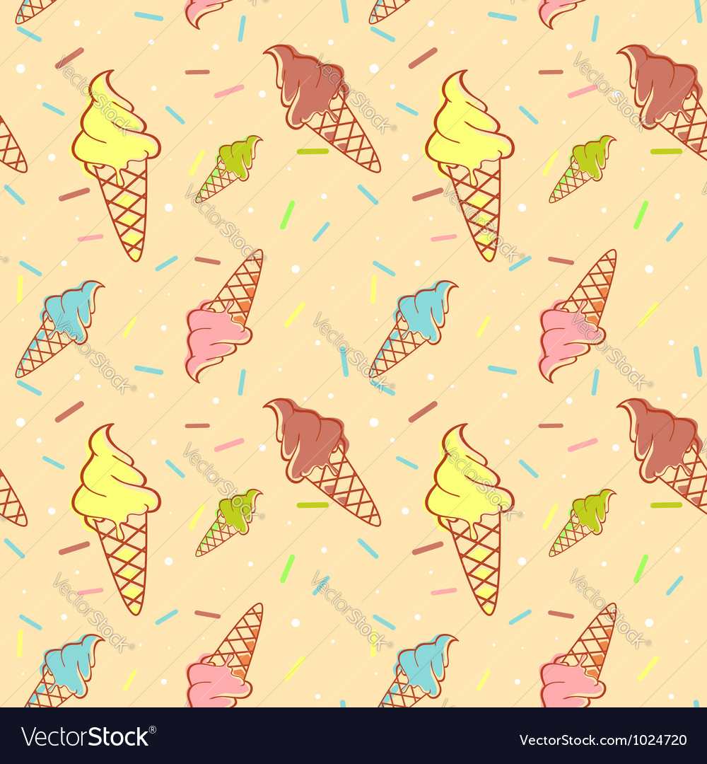 Colorful melting ice-cream seamless pattern vector | Price: 1 Credit (USD $1)