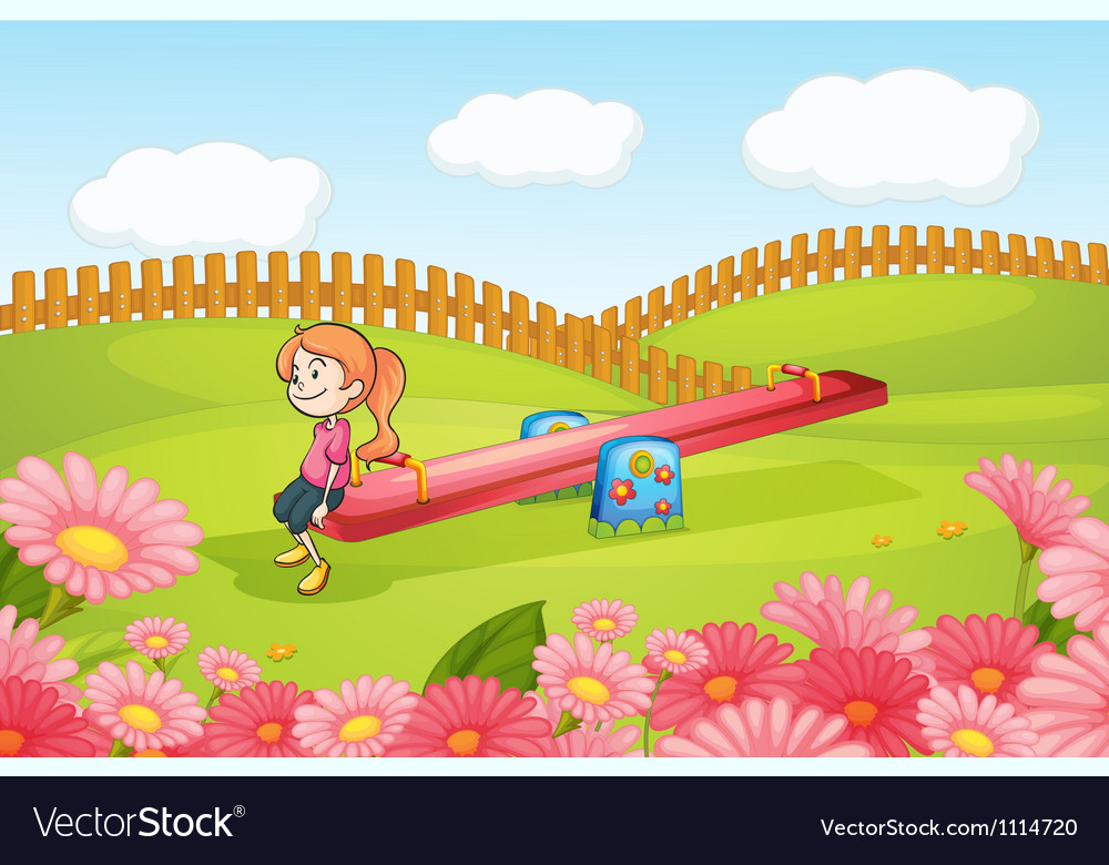 Girl on see saw vector | Price: 3 Credit (USD $3)