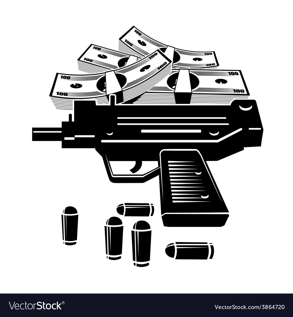 Gun and money vector | Price: 1 Credit (USD $1)