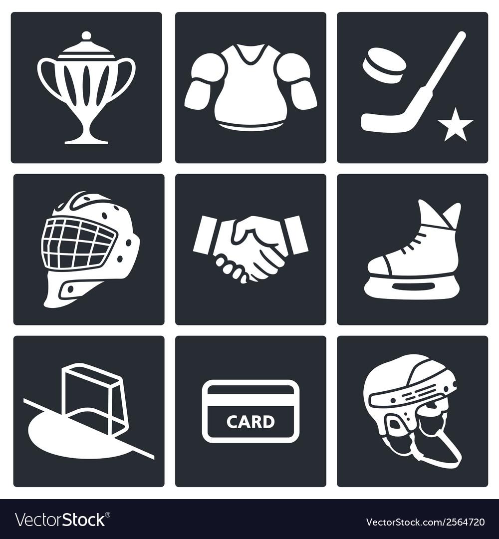 Hockey icon set vector | Price: 1 Credit (USD $1)