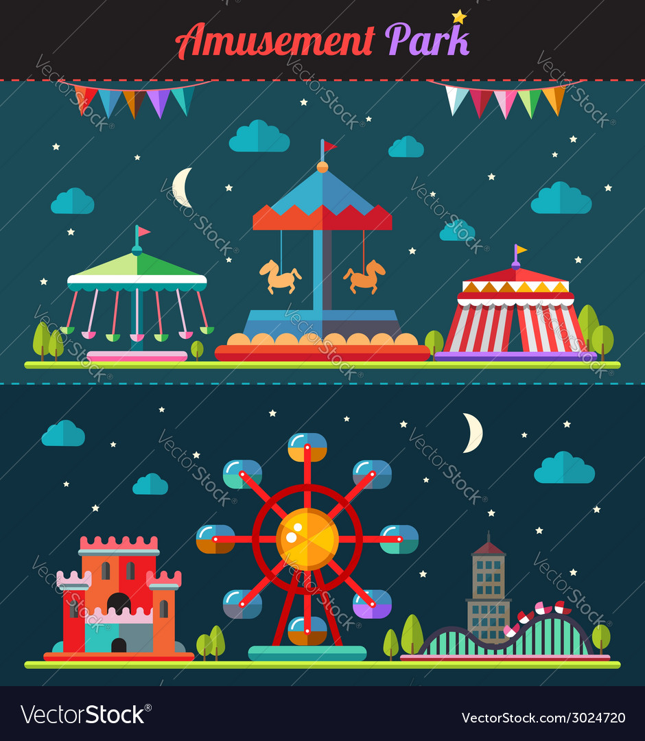 Set of flat design composition with amusement park vector | Price: 1 Credit (USD $1)
