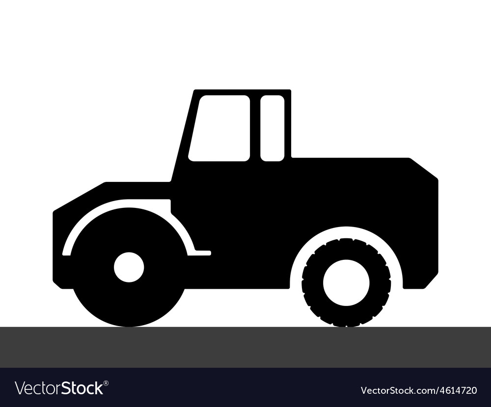 Silhouette steamroller on a white background vector | Price: 1 Credit (USD $1)