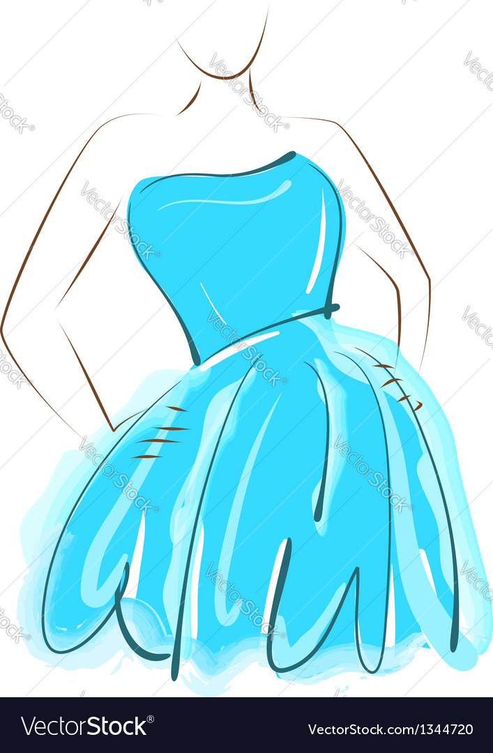 Sketch girl blue dress vector | Price: 1 Credit (USD $1)