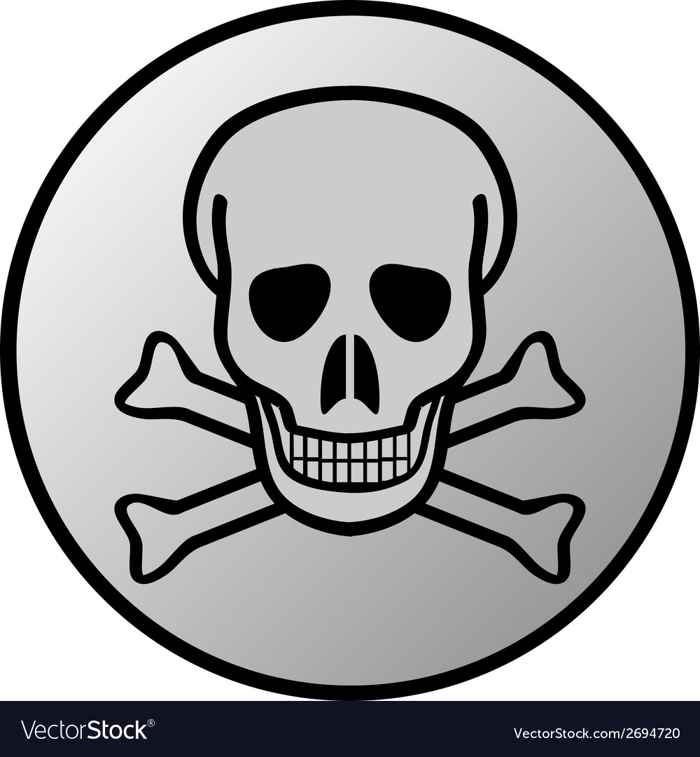 Skull and bones danger sign button vector | Price: 1 Credit (USD $1)