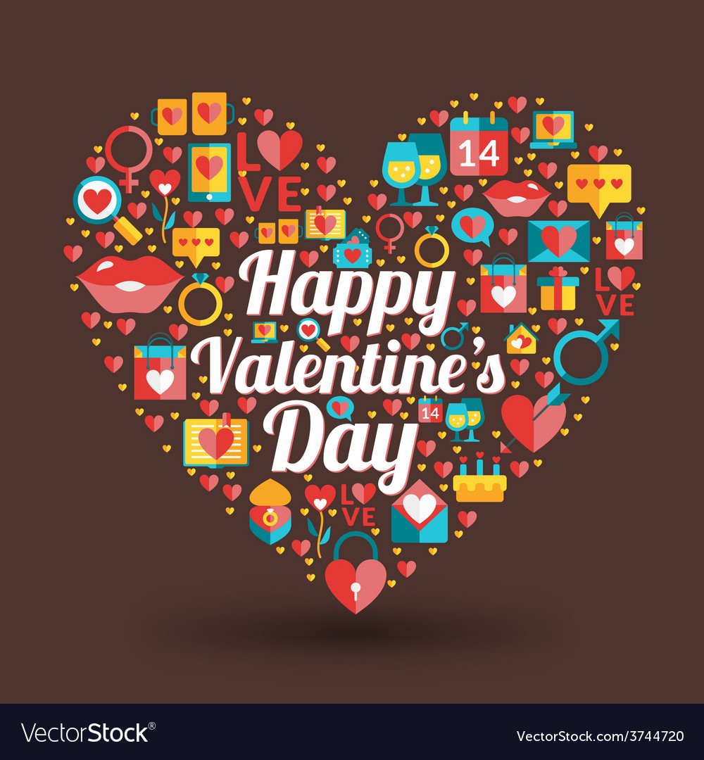 St valentines day card design heart made of love vector | Price: 1 Credit (USD $1)