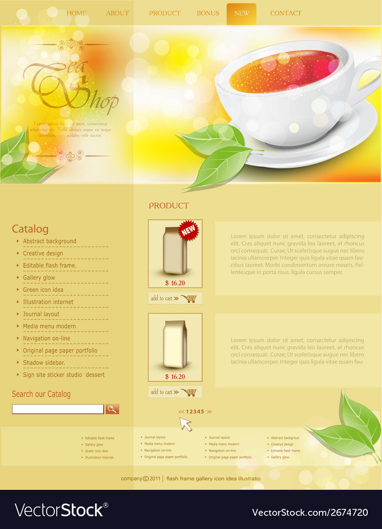 Website template tea shop vector | Price: 1 Credit (USD $1)