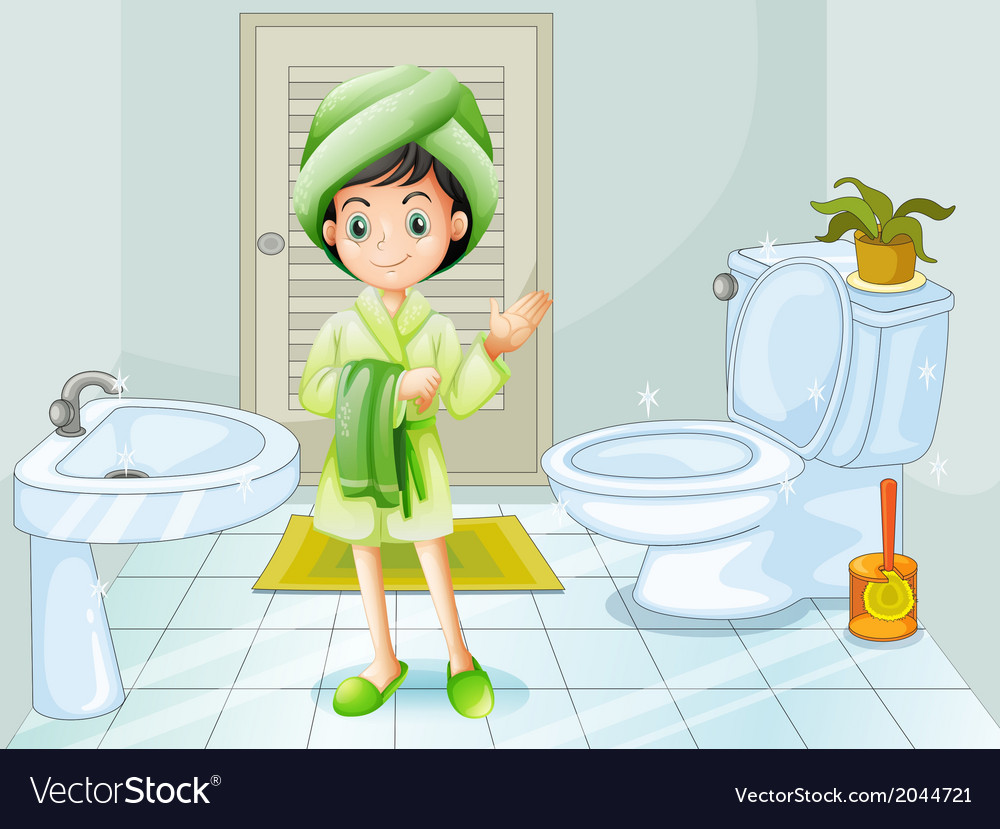 A fresh young girl at the bathroom vector | Price: 3 Credit (USD $3)