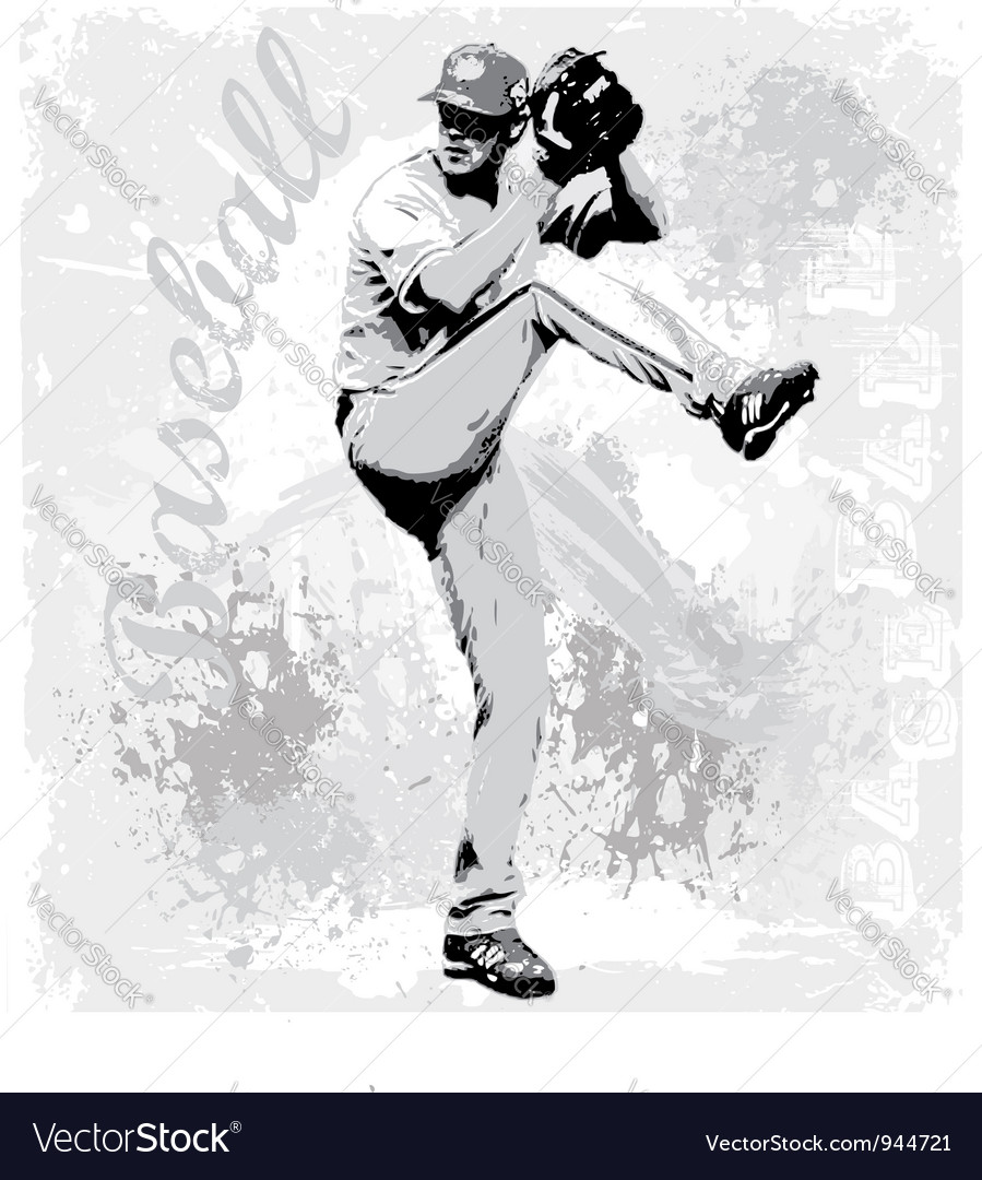 Baseball pitcher vector | Price: 1 Credit (USD $1)