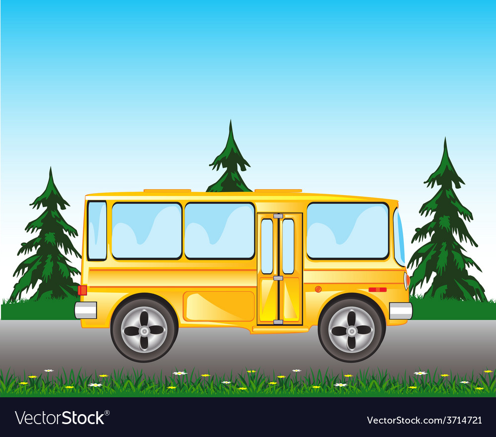 Bus on road vector | Price: 1 Credit (USD $1)