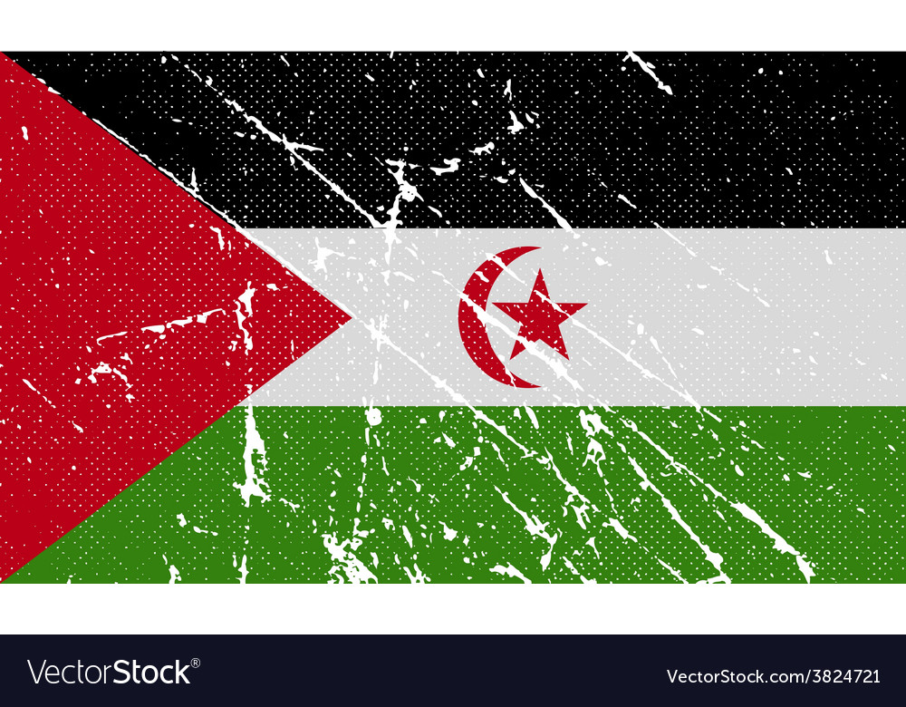 Flag of western sahara with old texture vector | Price: 1 Credit (USD $1)