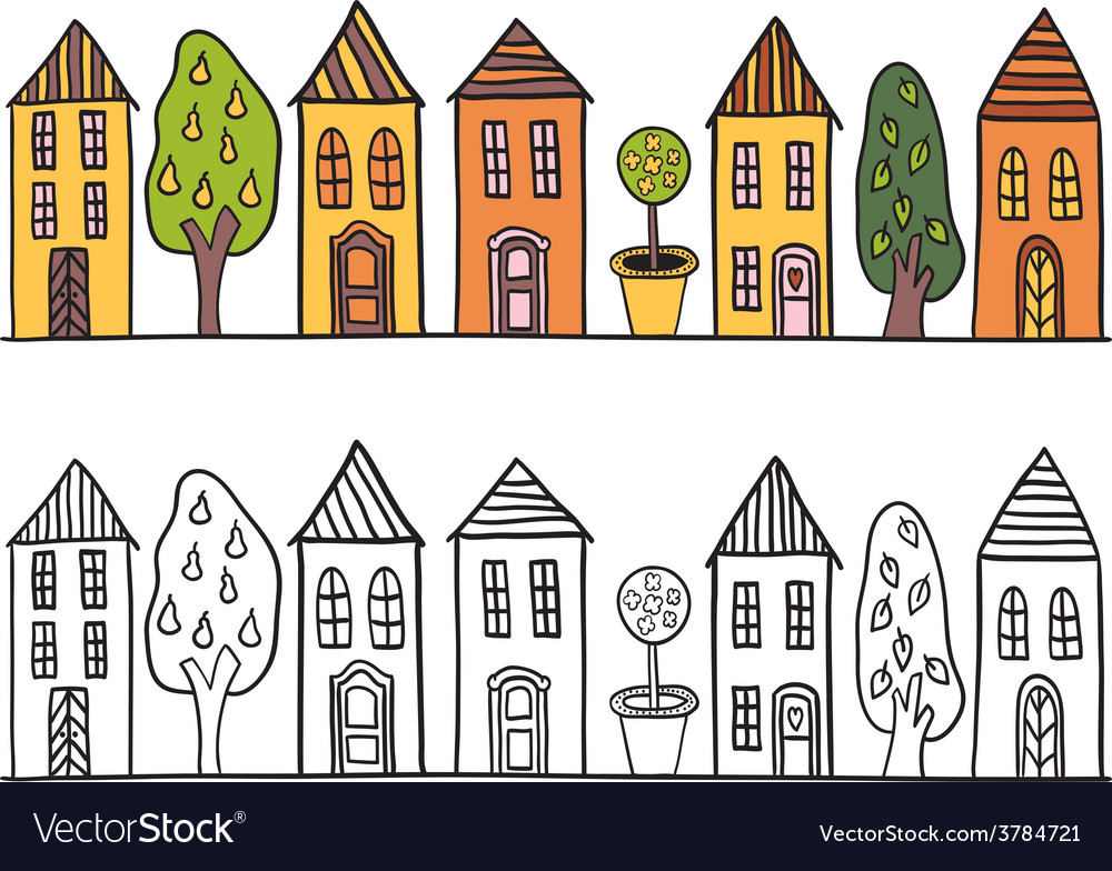 Houses in small town pattern vector | Price: 1 Credit (USD $1)