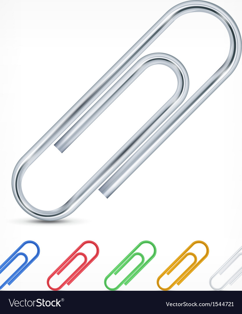 Metallic color paperclips on white vector | Price: 3 Credit (USD $3)