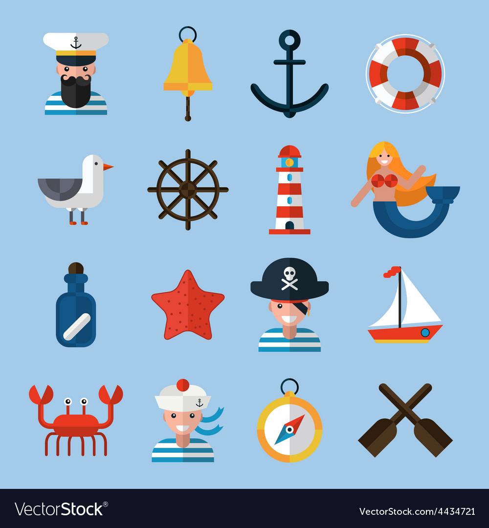 Nautical icons set vector | Price: 1 Credit (USD $1)