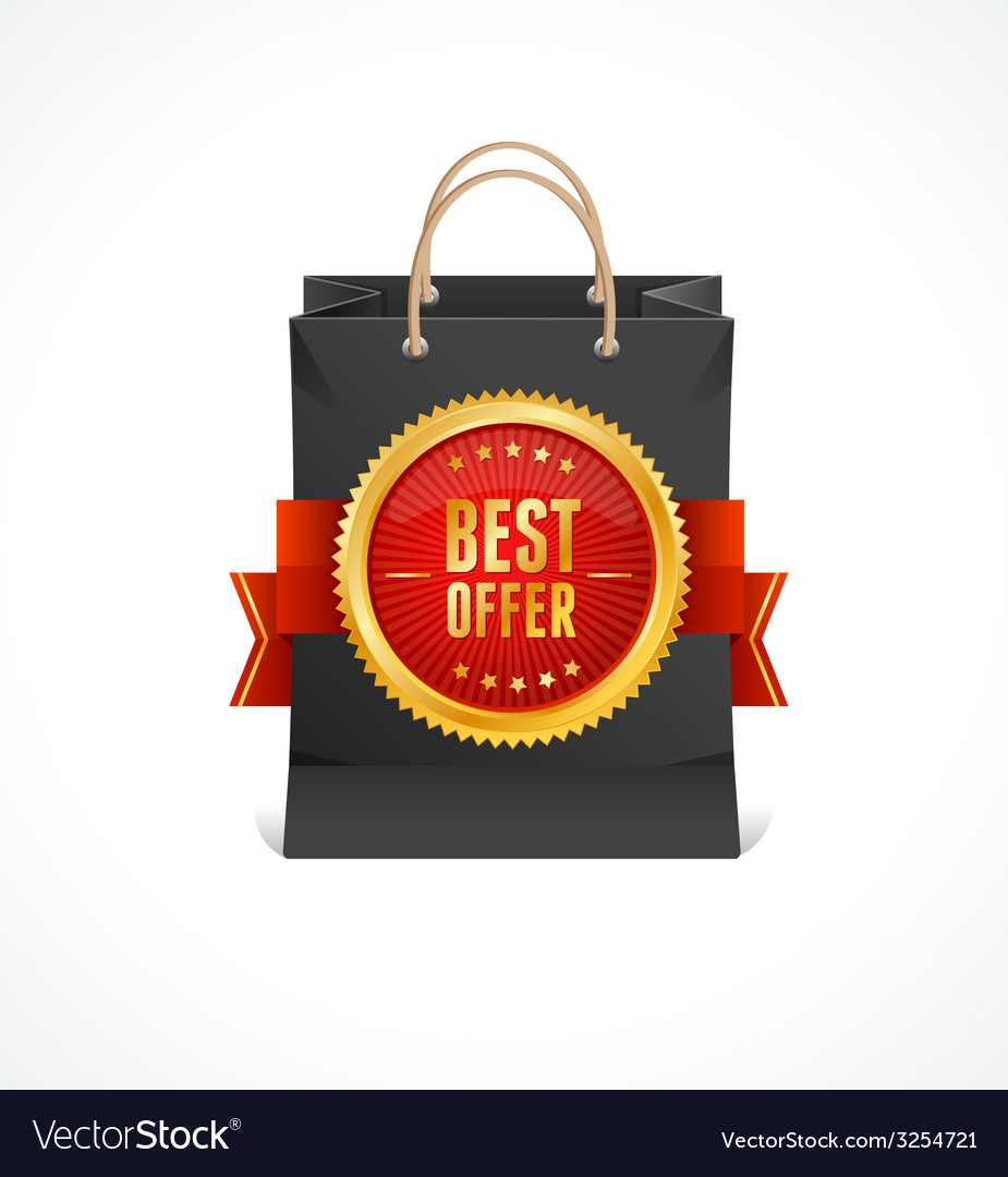 Paper bag and gold label best offer vector | Price: 1 Credit (USD $1)