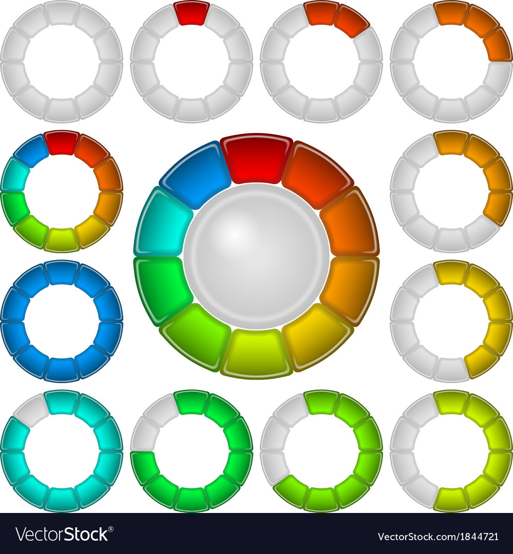Progress bars set round vector | Price: 1 Credit (USD $1)
