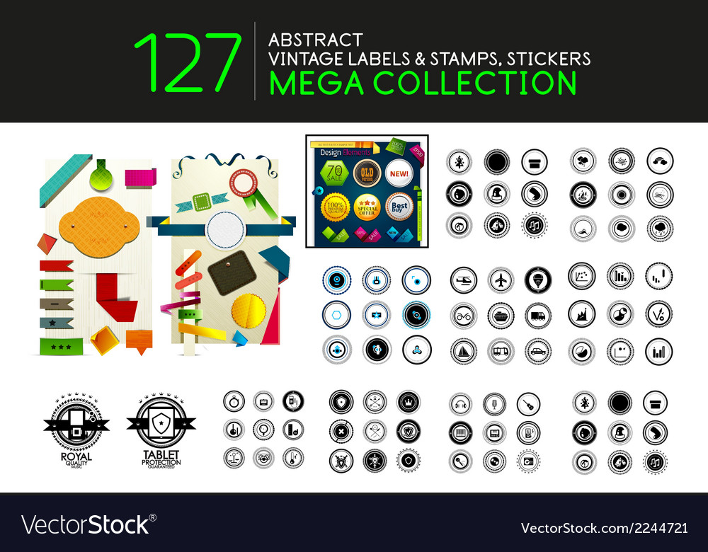 Set of vintage stamps lables tags icons vector | Price: 1 Credit (USD $1)