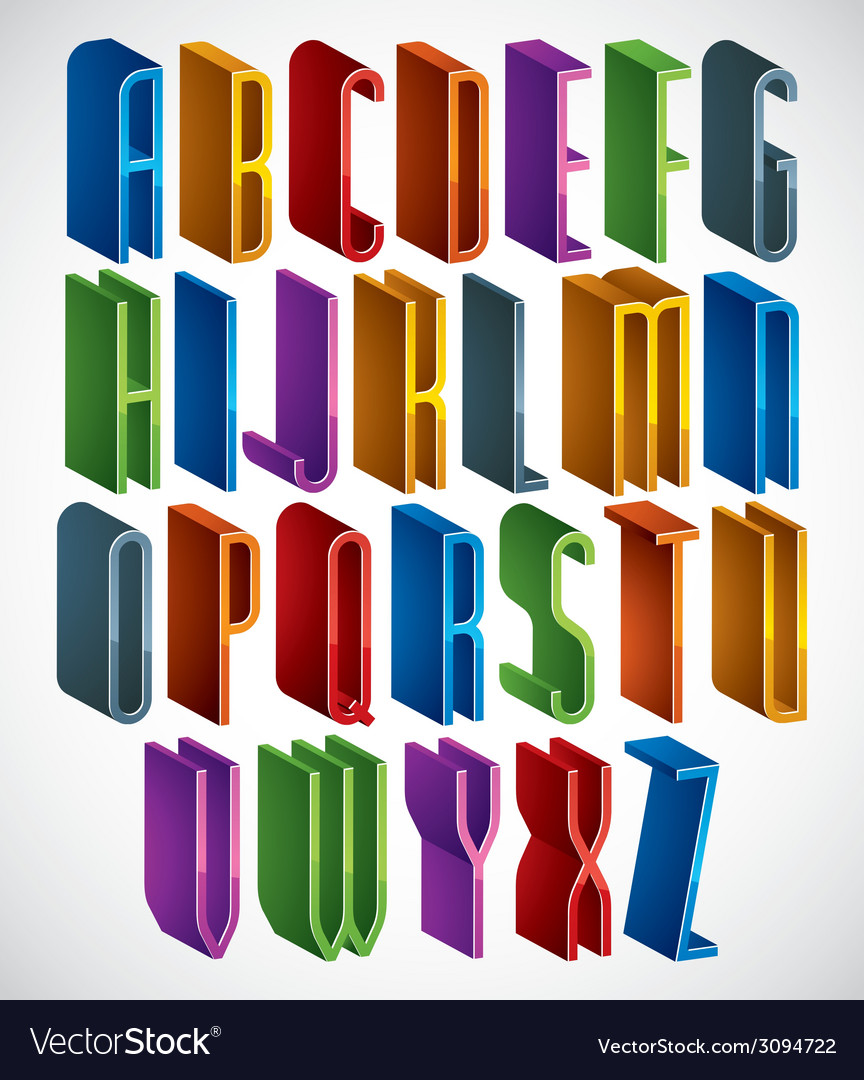 3d font tall thin letters geometric dimensional vector | Price: 1 Credit (USD $1)