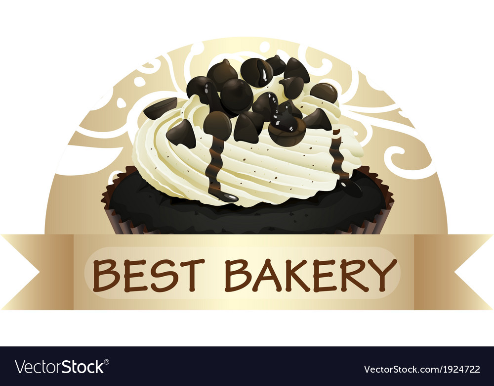 A best bakery label with a chocolate cupcake vector | Price: 1 Credit (USD $1)