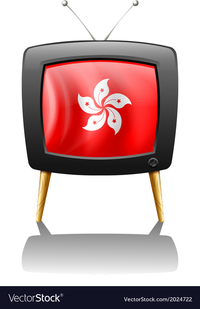 A tv showing the flag of hongkong vector | Price: 3 Credit (USD $3)