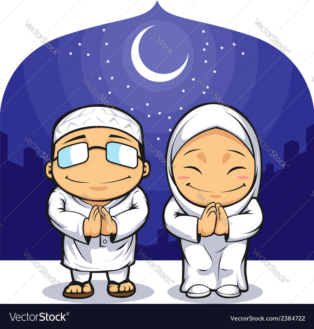 Cartoon of muslim man woman greeting ramadan vector | Price: 1 Credit (USD $1)