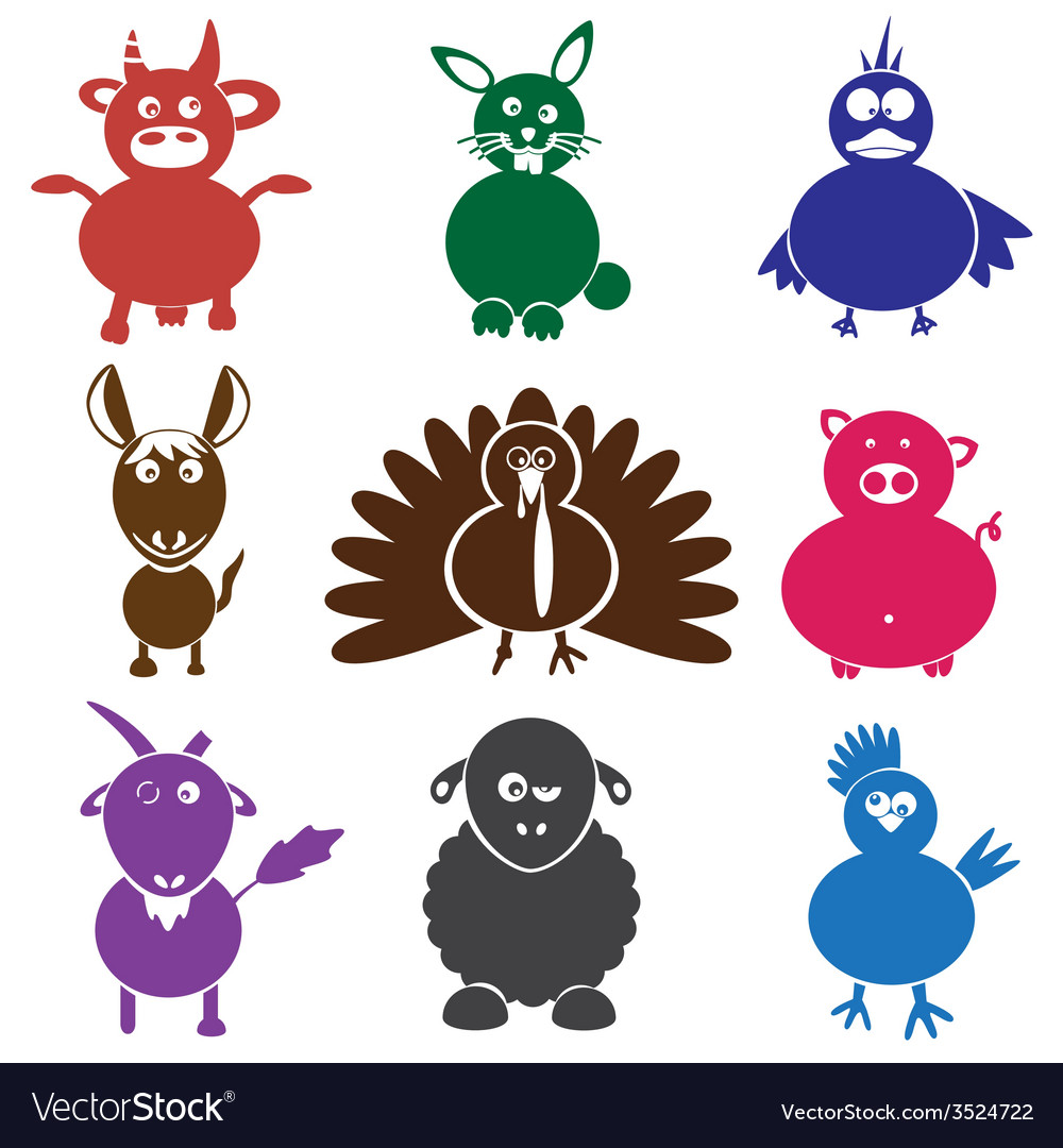 Color farm animals with mild mental disabilities vector | Price: 1 Credit (USD $1)