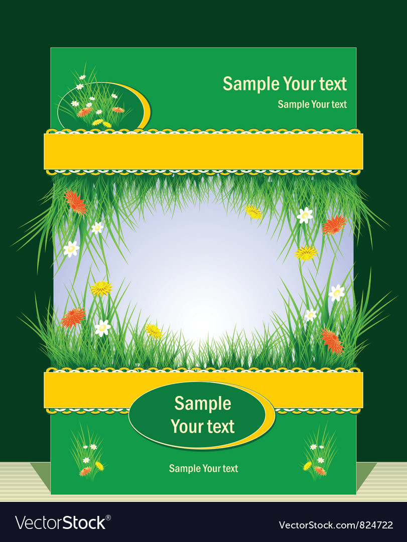 Frame with grass for presentation vector | Price: 1 Credit (USD $1)