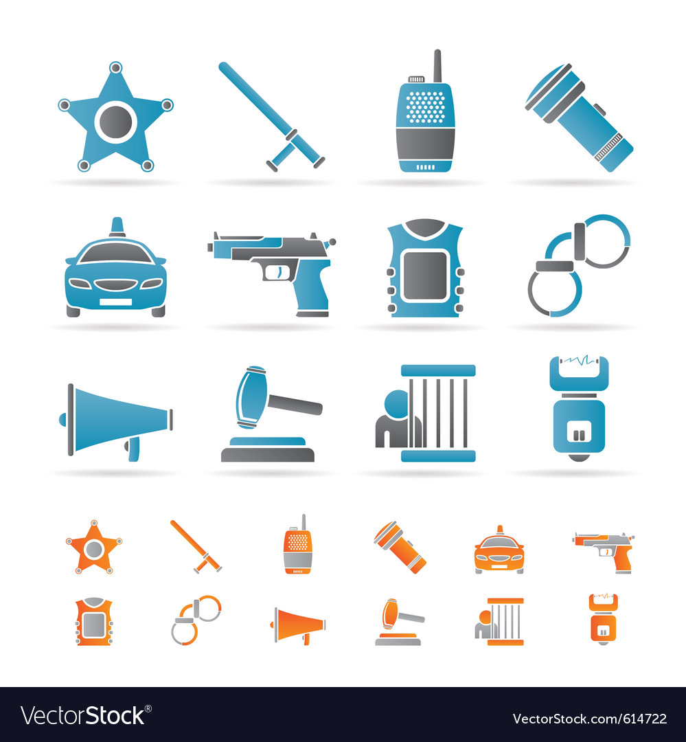 Police and crime icons vector | Price: 1 Credit (USD $1)