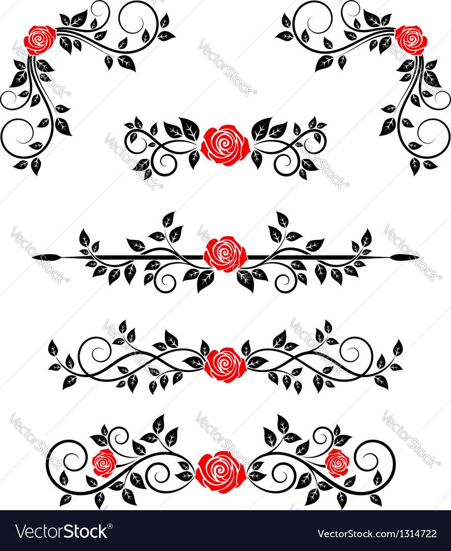 Roses with floral embellishments vector | Price: 1 Credit (USD $1)