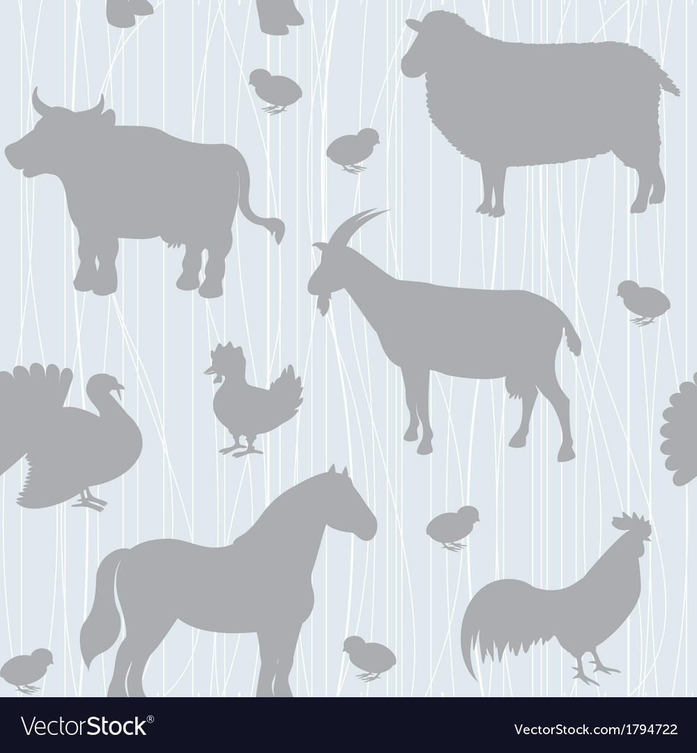Seamless pattern with farm animals silhouettes vector | Price: 1 Credit (USD $1)