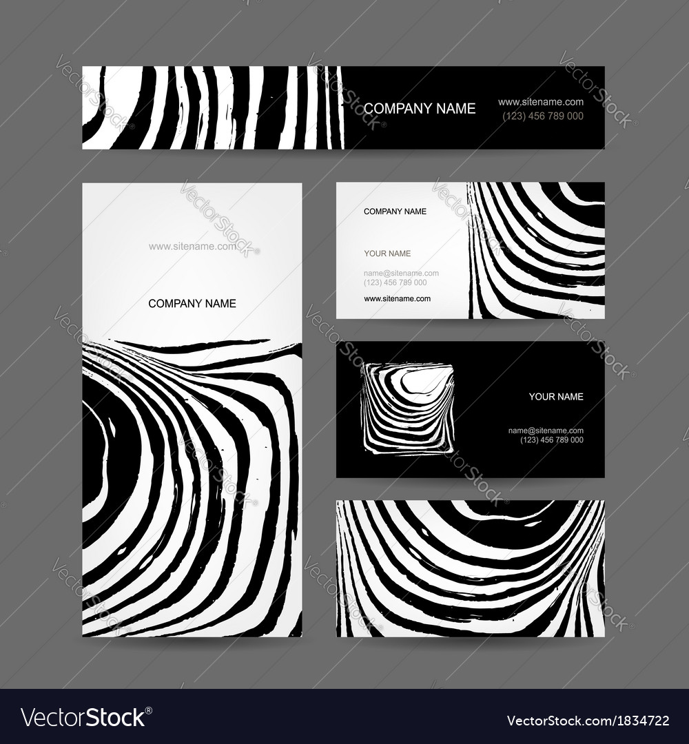 Set of abstract creative business cards zebra vector | Price: 1 Credit (USD $1)