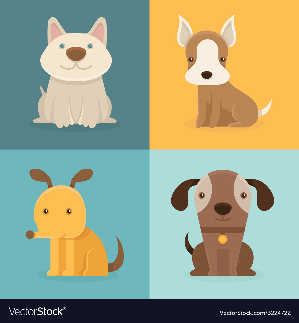 Set of cartoon dogs in flat style vector | Price: 1 Credit (USD $1)
