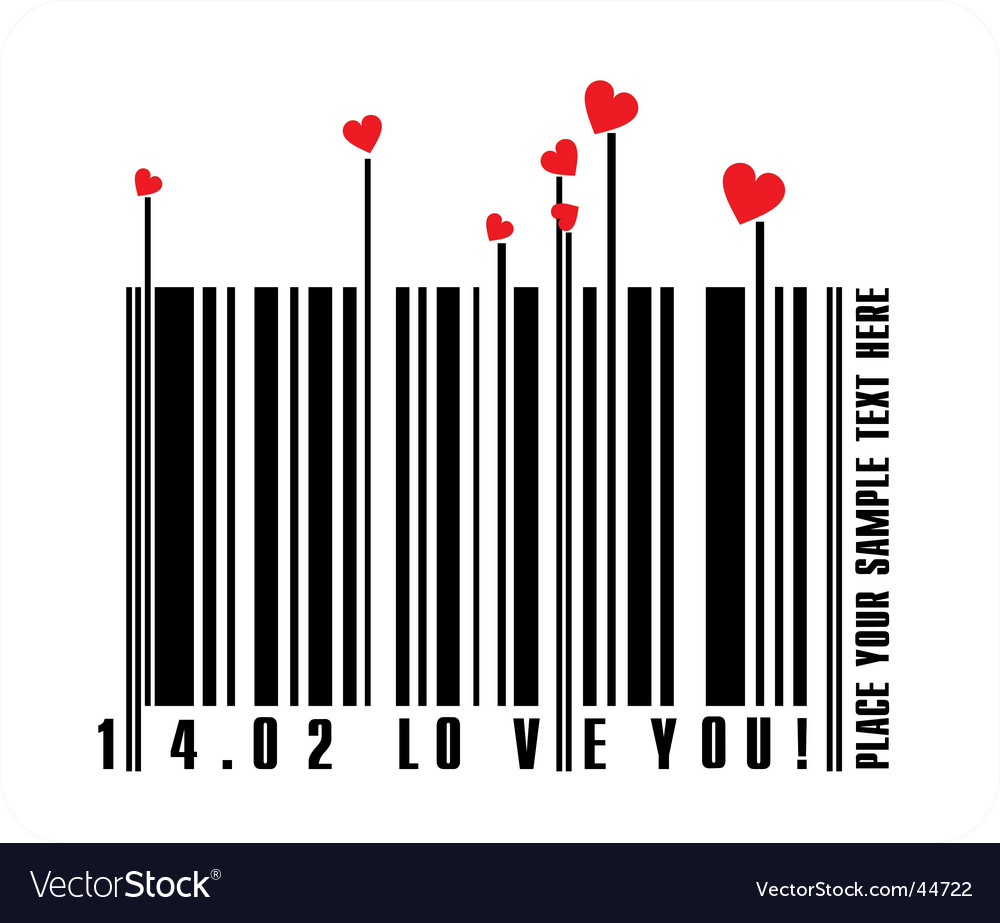 Valentines bar code vector   Price: 1 Credit (USD $1)