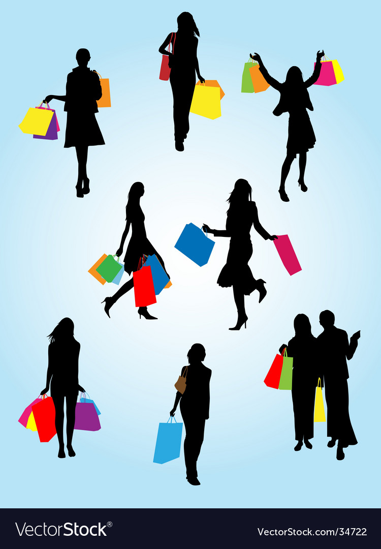 Woman shopping vector | Price: 1 Credit (USD $1)