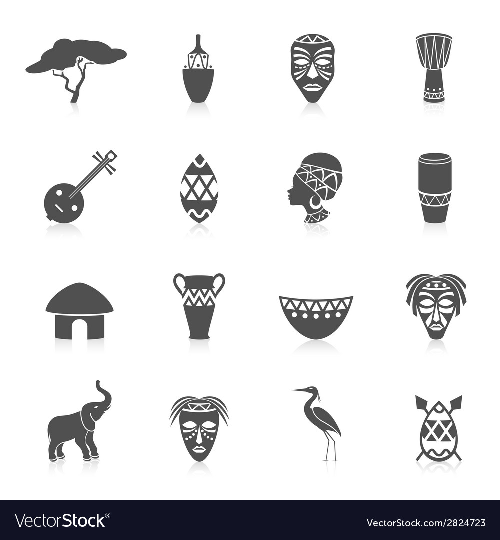 Africa icons set vector | Price: 1 Credit (USD $1)