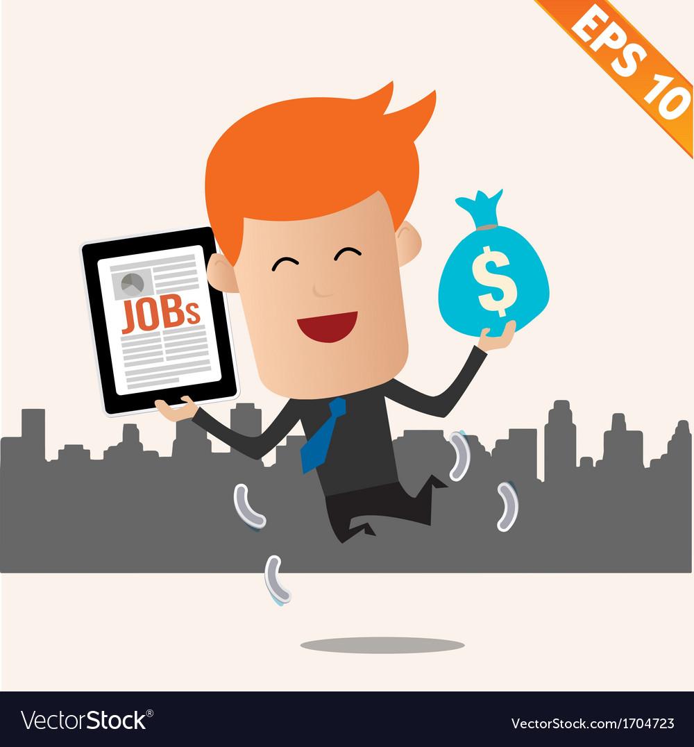 Cartoon businessman with financial money - - vector   Price: 1 Credit (USD $1)