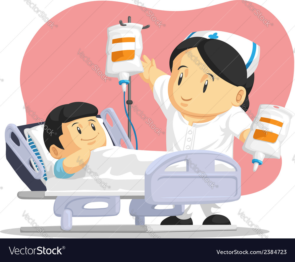 Cartoon of nurse helping child patient vector | Price: 1 Credit (USD $1)