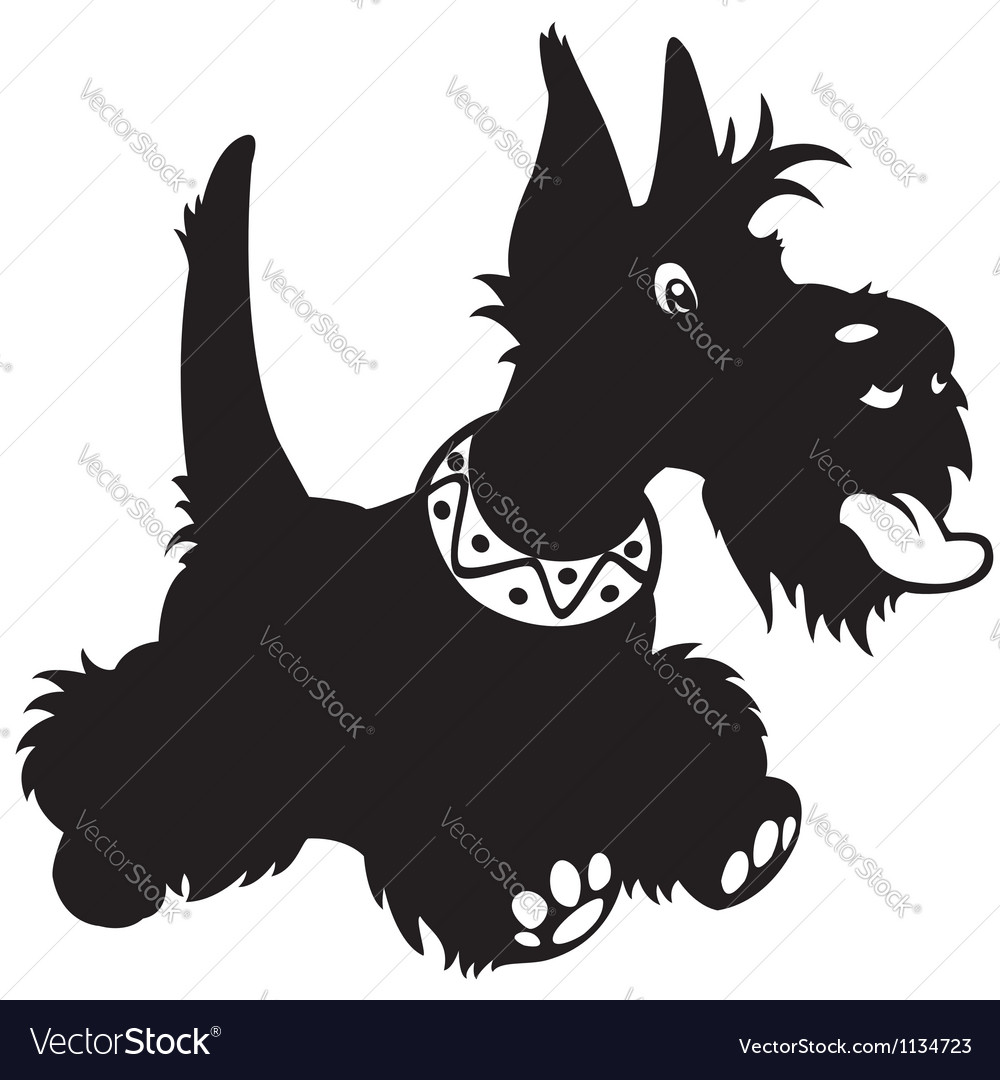 Cartoon scottish terrier black white vector | Price: 1 Credit (USD $1)