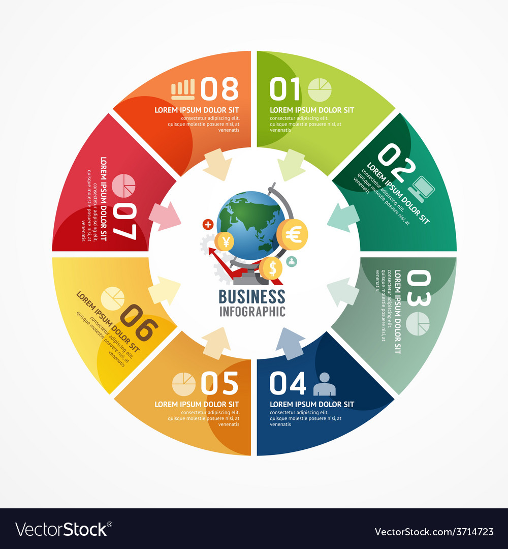 Circle infographics business design template vector | Price: 1 Credit (USD $1)
