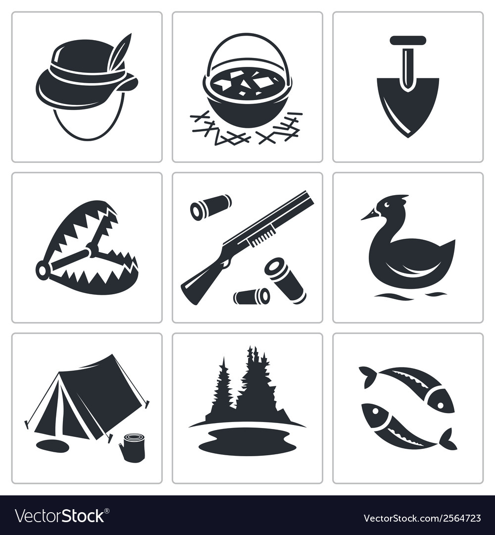 Color hunting and fishing icon collection vector | Price: 1 Credit (USD $1)