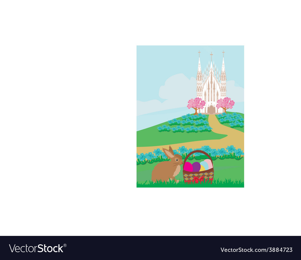 Easter landscape with eggs and sweet bunny vector | Price: 1 Credit (USD $1)