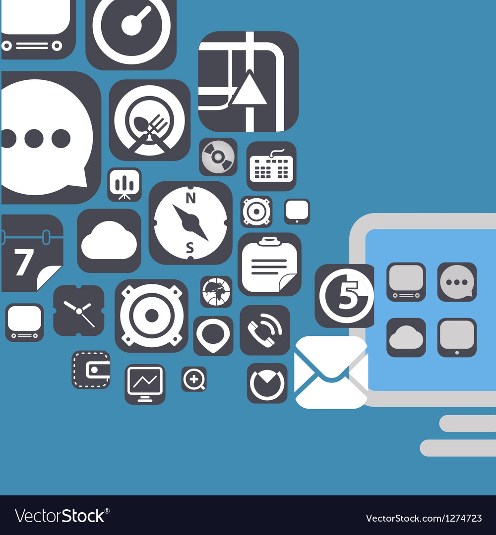 Flying web graphic interface icons vector   Price: 1 Credit (USD $1)