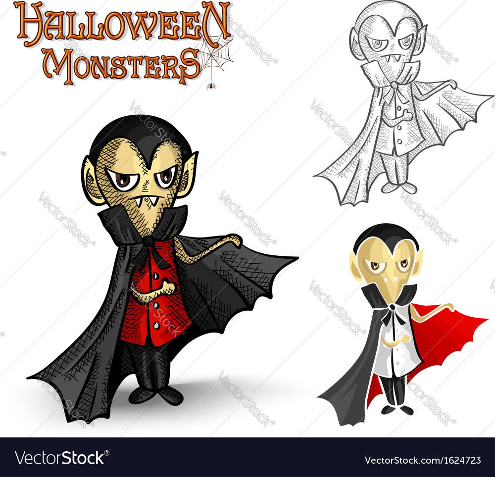 Halloween monsters spooky vampire eps10 file vector | Price: 1 Credit (USD $1)