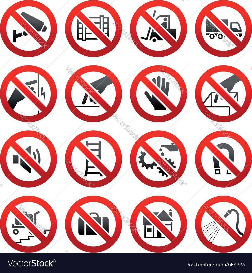 Industrial prohibited symbols vector | Price: 1 Credit (USD $1)