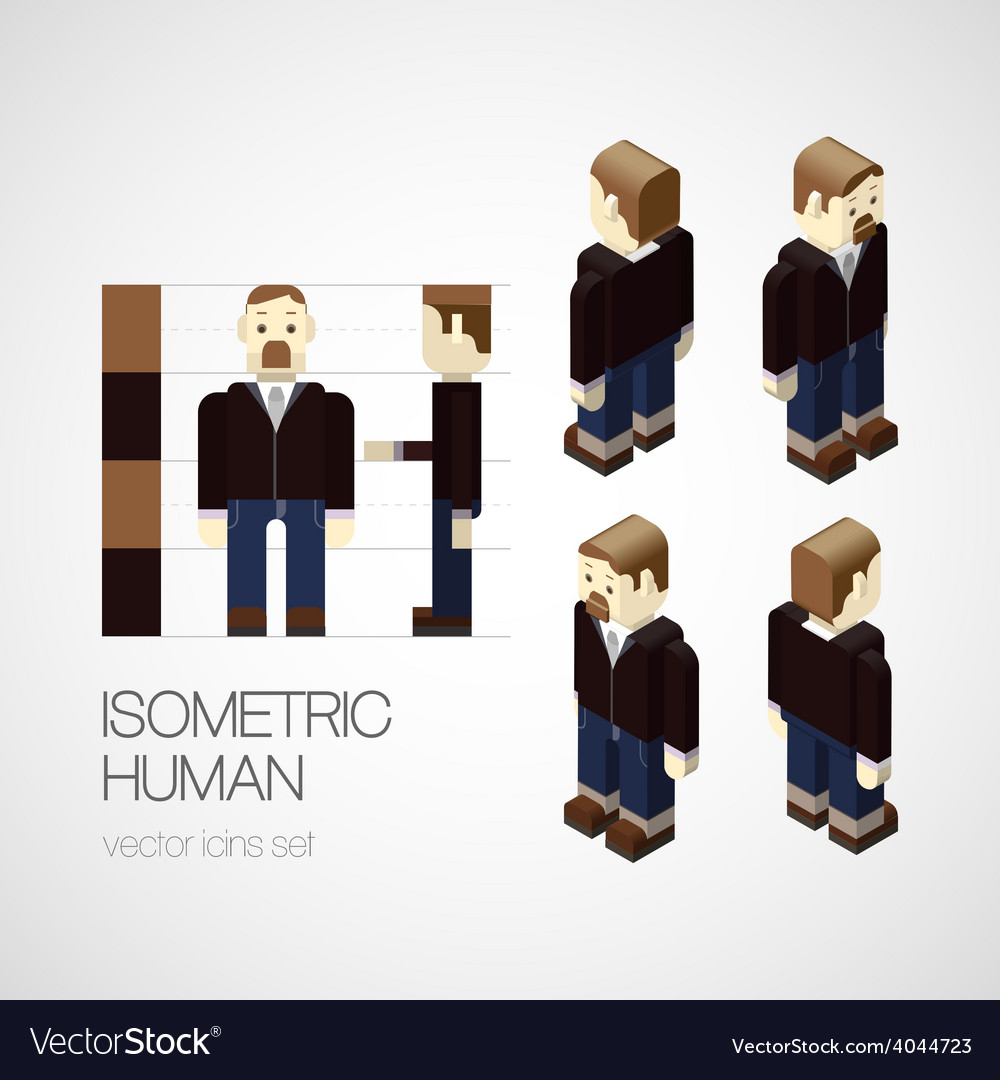 Isometric human set vector | Price: 1 Credit (USD $1)