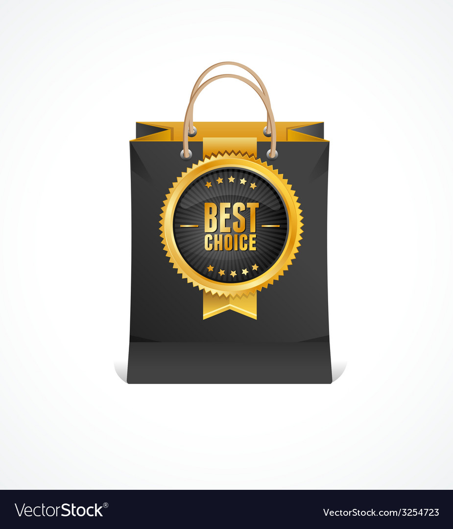 Paper bag and gold label best choice vector | Price: 1 Credit (USD $1)