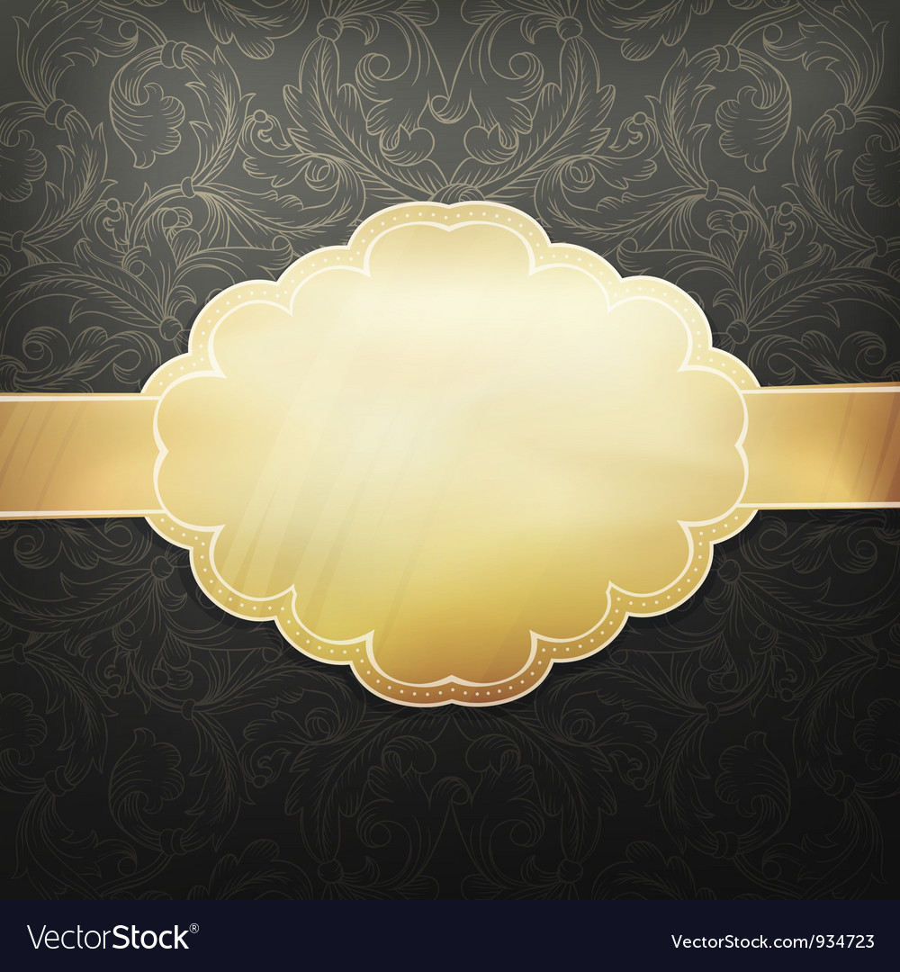 Retro golden card vector | Price: 1 Credit (USD $1)