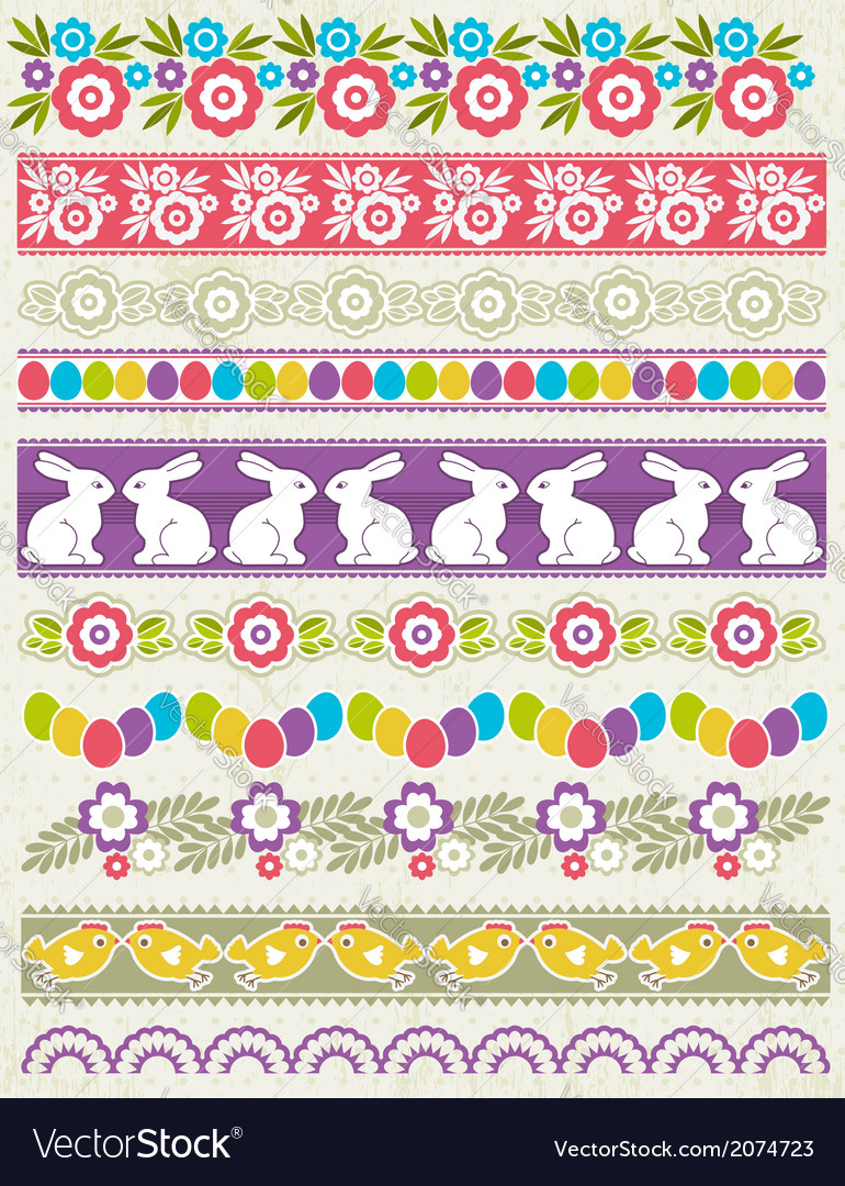 Set of lace paper with flower an easter eggs vector | Price: 1 Credit (USD $1)