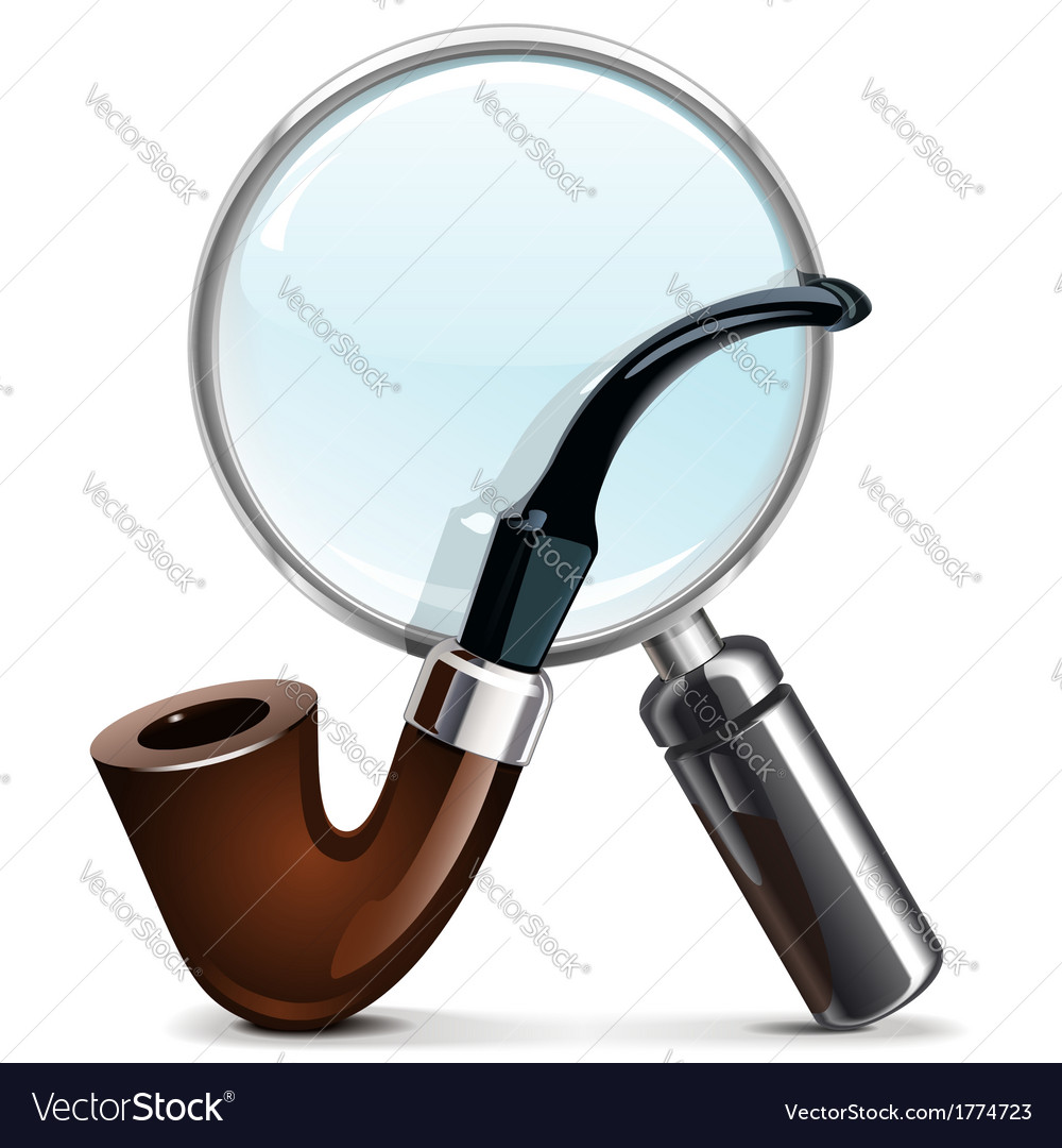 Tobacco pipe and loupe vector | Price: 1 Credit (USD $1)