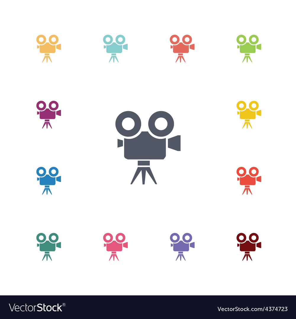 Video camera flat icons set vector | Price: 1 Credit (USD $1)
